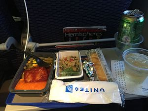 Airline meal - A United Airlines international economy meal.