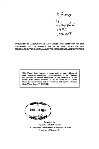 File:United States Statutes at Large Volume 104 Part 4.djvu