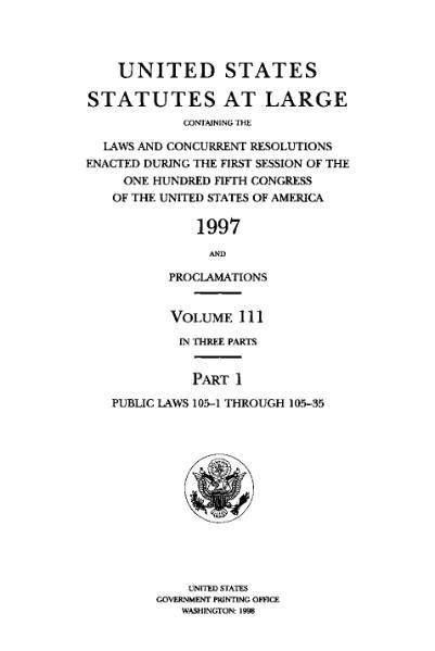File:United States Statutes at Large Volume 111 Part 1.djvu