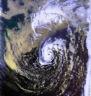 1991 Perfect Storm - Satellite image of the unnamed hurricane at peak intensity, on November 1