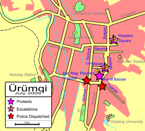 Road map of Ürümqi, showing where protests occurred and where they escalated, and where police were dispatched. Protests occurred at the Grand Bazaar in the centre of the map, at People's Square in the northeast, and at the intersection of Longquan and Jiefang Roads in between; protests escalated at the latter two locations. Police were later dispatched to two locations south of the Grand Bazaar.
