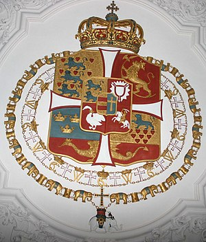 Rosenborg Castle - The Coat of arms of Denmark is located on the ceiling of the Long Hall
