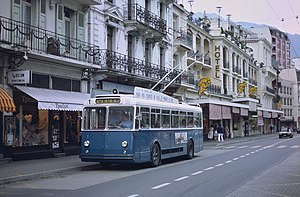 Trolleybuses in Montreux/Vevey - One of the original 1957 Berna trolleybuses in Montreux in 1985
