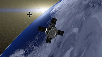 Van Allen Probes - Artist's rendition of Van Allen Probes A and B in Earth orbit. Credit:NASA