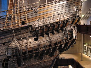 Quarter gallery - The port quarter galleries of the 17th century warship ''Vasa''. The galleries alone have over 70 highly ornate wooden sculptures of varying themes and size, all of which were originally painted in bright, vivid colors.
