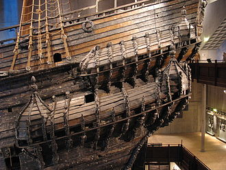Quarter gallery - The port quarter galleries of the 17th century warship Vasa. The galleries alone have over 70 highly ornate wooden sculptures of varying themes and size, all of which were originally painted in bright, vivid colors.
