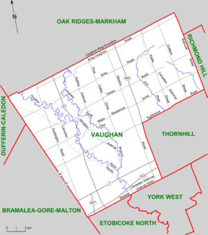 Vaughan (electoral district) - Map of Vaughan riding