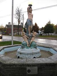 Venus Fountain and Village Hall Wolcott NY Oct 09.jpg