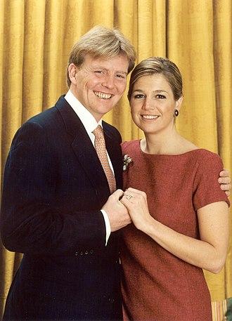 Jorge Zorreguieta - Prince Willem-Alexander and Máxima Zorreguieta after their engagement in 2001