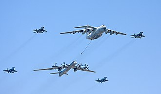 Ilyushin Il-78 - An Ilyushin Il-78 simulating aerial refuelling with a Tu-95MS during the Victory Day Parade in Moscow on 9 May 2009.