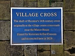 Village cross beeston plaque