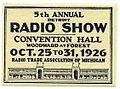 Vintage Radio Show Stamp - 5th Annual Detroit Radio Show, October 25 - 31, 1926 (11910205714).jpg