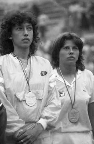 Virginia Ruzici - Virginia Ruzici (left) and Florența Mihai at the 1981 Summer Universiade