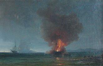 Von der Tann (gunboat) - Vilhelm Melbye: Von der Tann aground at Neustadt. (The Hekla seen in the background)