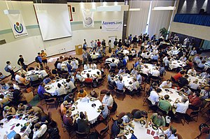Wikimania - Attendees break for lunch, 2006