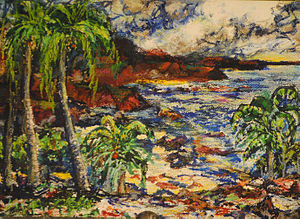 Waiʻanapanapa State Park - A painting of the beach by Byron Randall