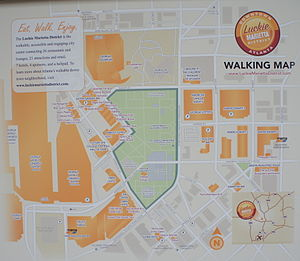 Centennial Park District - Walking map posted on side of building