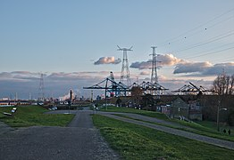 Walkway along the Scheldt leading to the Port of Antwerp (Doel, Belgium, DSCF3874).jpg