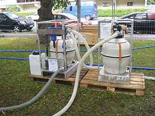 Portable water purification Self-contained, easily transported units used to purify water from untreated sources
