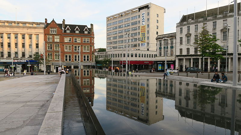 File:Water reflection at Nottingham old market square (20266479619).jpg