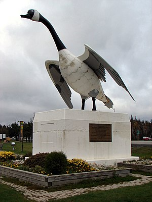 Wawa, Ontario - Goose sculpture in Wawa overlooking Highway 17
