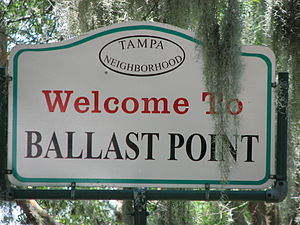 Ballast Point (Tampa) - City of Tampa Neighborhood Welcome to Ballast Point Sign on Bayshore Blvd