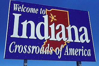 "Indiana - Indiana's welcome signs feature the state motto ""Crossroads of America."""