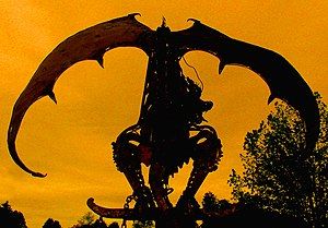 Silhouette of a dragon. Original caption: Thei...