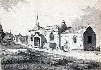 Samuel Hieronymus Grimm - Old Whittington church, Derbyshire (1785). This was Samuel Pegge's church, later destroyed by a fire.
