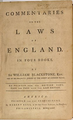 Commentaries on the Laws of England — Wikipédia