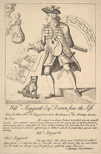 """Sawney - Cartoon of 1763. Lord Bute, or """"Sawney Mucklemon"""", the Scottish Prime Minister, offers William Hogarth (with a thistle in his hat) a pension to suppress a satirical print."""