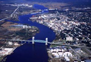 Cape Fear Memorial Bridge - Image: Wilmington Aerial View Coast Guard