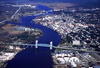 Cape Fear Memorial Bridge - Image: Wilmington Aerial View Coast Guard