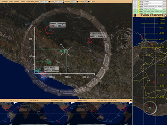 Windows on Earth - Screen capture from Windows on Earth showing the coast of Peru with three marked targets, orbital track, and the 10-minute look-ahead.
