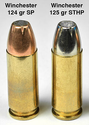 9×23mm Winchester - Factory 9×23 Winchester ammunition.  SP = Soft Point.  STHP = Silver Tip Hollow Point. gr = weight in grains.