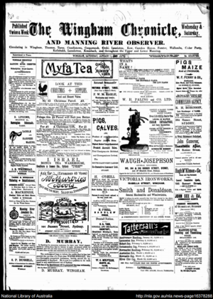 The Wingham Chronicle and Manning River Observer - Front page of the Wingham Chronicle and Manning River Observer on 1 January 1898.