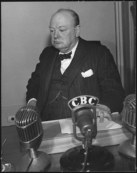 "Winston Churchill believed it was vital for Britain to take every measure possible to support Greece. On 8 January 1941, he stated that ""there was no other course open to us but to make certain that we had spared no effort to help the Greeks who had shown themselves so worthy."" Winston Churchill at a conference in Quebec - NARA - 197119.jpg"