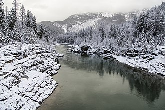 Flathead River - The Flathead River in Glacier National Park during winter