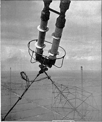 Rugby Radio Station - Strain insulator supporting the cage antenna, 1938