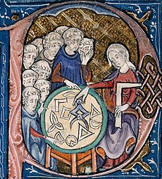 Woman teaching geometry. Illustration at the beginning of a medieval translation of Euclid's Elements, (c.1310)