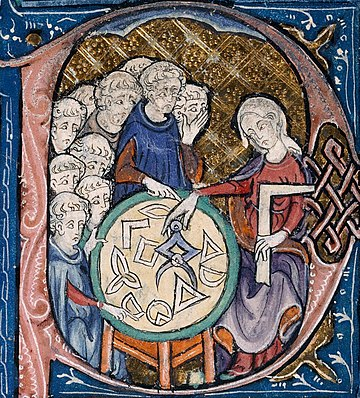 Detail of a scene in the bowl of the letter 'P' with a woman with a set-square and dividers; using a compass to measure distances on a diagram. In her left hand she holds a square, an implement for testing or drawing right angles. She is watched by a group of students.