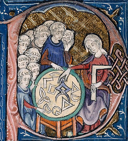 Medieval Christians believed that to seek the geometric, physical and mathematical principles that govern the world was to seek and worship God. Detail of a scene in the bowl of the letter 'P' with a woman with a set-square and dividers; using a compass to measure distances on a diagram. In her left hand she holds a square, an implement for testing or drawing right angles. She is watched by a group of students. In the Middle Ages, it is unusual to see women represented as teachers, in particular when the students appear to be monks. She is most likely the personification of Geometry, based on Martianus Capella's famous book De Nuptiis Philologiae et Mercurii [5th c.], a standard source for allegorical imagery of the seven liberal arts. Illustration at the beginning of Euclid's Elementa, in the translation attributed to Adelard of Bath. Woman teaching geometry.jpg