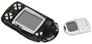 WonderSwan - The WonderWave accessory is an infrared communicator that could transfer data between two WonderSwans. It is also compatible with the PocketStation (right) for select Bandai games.