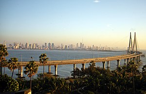 Bandra–Worli Sea Link - Northern viaduct of BWSL in the foreground seen against the Worli skyline. View from Bandra Fort