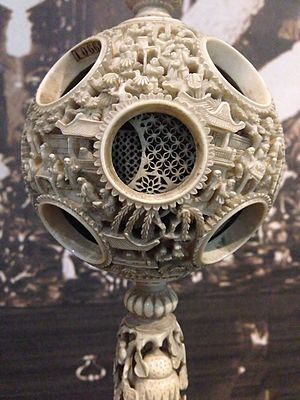 Lingnan culture - An ivory ball on show in the German Rautenstrauch-Joest Museum. It has 16 layers, which can spin.