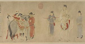 An Lushan Rebellion - Yang Guifei Mounting a Horse, by Qian Xuan (1235–1305)