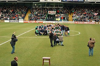 Yeovil Town F.C. - Yeovil celebrating their promotion to The Football League at Huish Park, 19 April 2003