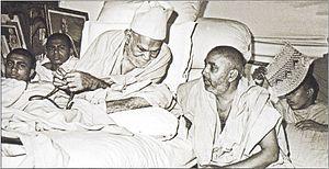 Pramukh Swami Maharaj - Pramukh Swami Maharaj (right) with Yogiji Maharaj (left), then the spiritual head of BAPS, in the BAPS Shri Swaminarayan Mandir in Gondal, Gujarat .