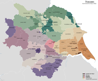 Historic divisions of Yorkshire Yorkshire Administrative Map 1832.png