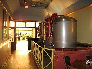 Metairie, Louisiana. Beer brewing tanks at mic...